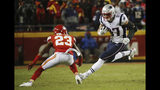 New England Patriots tight end Rob Gronkowski (87) runs against Kansas City Chiefs cornerback Kendall Fuller (23) during the first half of the AFC Championship NFL football game, Sunday, Jan. 20, 2019, in Kansas City, Mo. (AP Photo/Charlie Riedel)