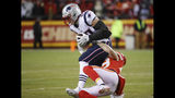 New England Patriots tight end Rob Gronkowski (87) is tackled by Kansas City Chiefs defensive back Daniel Sorensen (49) during the first half of the AFC Championship NFL football game, Sunday, Jan. 20, 2019, in Kansas City, Mo. (AP Photo/Charlie Riedel)