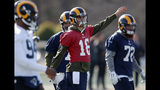 Los Angeles Rams quarterback Jared Goff (16) stretches during practice for the NFL Super Bowl 53 football game against the New England Patriots, Friday, Feb. 1, 2019, in Flowery Branch, Ga. (AP Photo/John Bazemore)