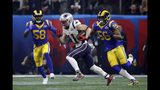 New England Patriots' Julian Edelman, center, runs from Los Angeles Rams' Cory Littleton (58) and Dante Fowler (56) during the second half of the NFL Super Bowl 53 football game Sunday, Feb. 3, 2019, in Atlanta. (AP Photo/Chuck Burton)