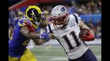 Los Angeles Rams' Aqib Talib, left, chases New England Patriots' Julian Edelman during the first half of the NFL Super Bowl 53 football game Sunday, Feb. 3, 2019, in Atlanta. (AP Photo/Patrick Semansky)