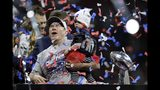 New England Patriots head coach Bill Belichick celebrates in the confetti after the NFL Super Bowl 53 football game against the Los Angeles Rams, Sunday, Feb. 3, 2019, in Atlanta. The Patriots won 13-3. (AP Photo/John Bazemore)