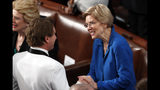 Sen. Elizabeth Warren, D-Mass., arrives for President Donald Trump's State of the Union address to a joint session of Congress on Capitol Hill in Washington, Tuesday, Feb. 5, 2019. (AP Photo/J. Scott Applewhite)