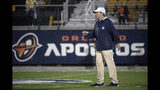 Orlando Apollos coach Steve Spurrier watches players warm up for an Alliance of American Football game against the Atlanta Legends on Saturday, Feb. 9, 2019, in Orlando, Fla. (AP Photo/Phelan M. Ebenhack)