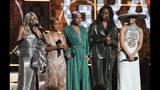 Lady Gaga, from left, Jada Pinkett Smith, Alicia Keys, Michelle Obama and Jennifer Lopez speak at the 61st annual Grammy Awards on Sunday, Feb. 10, 2019, in Los Angeles. (Photo by Matt Sayles/Invision/AP)