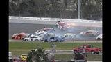 Paul Menard (21) spins in Turn 3, starting a multi-car pileup during the NASCAR Clash auto race at Daytona International Speedway Sunday, Feb. 10, 2019, in Daytona Beach, Fla. (AP Photo/Phelan M. Ebenhack)