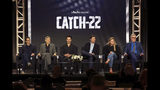 """Grant Heslov, from left, George Clooney, Christopher Abbott, Kyle Chandler, Ellen Kuras and Luke Davies participate in the """"Catch-22"""" panel during the Hulu presentation at the Television Critics Association Winter Press Tour at The Langham Huntington on Monday, Feb. 11, 2019, in Pasadena, Calif. (Photo by Willy Sanjuan/Invision/AP)"""