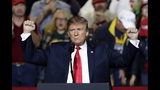 President Donald Trump speaks during a rally at the El Paso County Coliseum, Monday, Feb. 11, 2019, in El Paso, Texas. (AP Photo/Eric Gay)