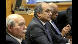 Cypriot Parliamentary Speaker Demetris Syllouris, center, with Egyptian counterpart Ali Abdel-Aal, right, and Nikos Voutsis of Greece, left, talk during a press conference in the parliament house in capital Nicosia, Cyprus, Monday, Feb. 11, 2019. Syllouris, Abdel-Aal and Voutsis agreed on strengthening cooperation especially in the fields of energy, tourism and education and culture. (AP Photo/Petros Karadjias)