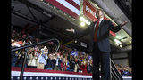 President Donald Trump gestures to the crowd as he speaks during a rally in El Paso, Texas, Monday, Feb. 11, 2019. (AP Photo/Susan Walsh)