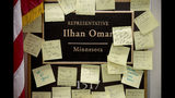 """People leave post-it notes of support outside the office of Rep. Ilhan Omar, D-Minn., on Capitol Hill, Monday, Feb. 11, 2019, in Washington. Omar has """"unequivocally"""" apologized for tweets suggesting a powerful pro-Israel interest group paid members of Congress to support Israel. Earlier Monday, House Speaker Nancy Pelosi and other Democrats had rebuked her for the tweets. (AP Photo/Andrew Harnik)"""