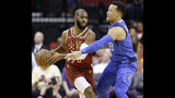 Houston Rockets guard Chris Paul, left, looks to pass as Dallas Mavericks guard Jalen Brunson applies defensive pressure during the first half of an NBA basketball game, Monday, Feb. 11, 2019, in Houston. (AP Photo/Eric Christian Smith)