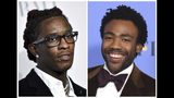 """This combination photo shows Young Thug, born Jeffery Lamar Williams, at the 3rd Annual Diamond Ball in New York on Sept. 14, 2017, left, and Donald Glover, who performs as Childish Gambino, at the 74th annual Golden Globe Awards in Beverly Hills, Calif. on Jan. 8, 2017. Young Thug, a co-writer of """"This Is America,"""" made history alongside Childish Gambino when the social-political hit became the first hip-hop track to win the song of the year at the Grammy Awards. (AP Photo)"""