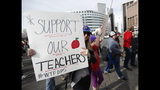 Instructors march to Denver Public Schools headquarters to deliver Valentine Day cards Wednesday, Feb. 13, 2019, in Denver. Teachers walked off their jobs Monday, the first strike by teachers in Denver in 25 years. (AP Photo/David Zalubowski)