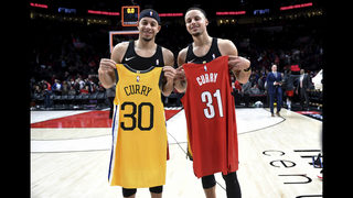 The Latest: Currys place family wager on 3-point competition