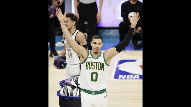 12a8463d3b8 Boston Celtics Jayson Tatum celebrates winning the NBA All-Star skills  session basketball contest, Saturday, Feb. 16, 2019, in Charlotte, ...