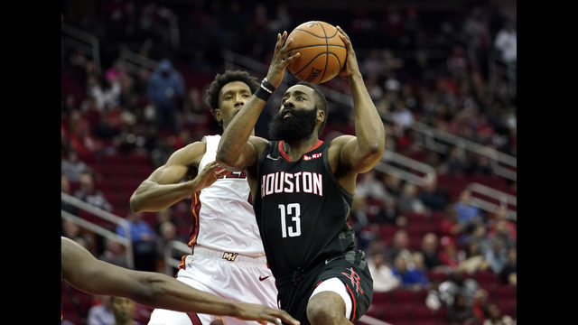 15d7d13be0af Houston Rockets  James Harden (13) goes up for a shot as Miami Heat s Josh  Richardson defends during the second half of an NBA basketball game  Thursday