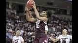 Mississippi State center Teaira McCowan (15) grabs a rebound during the second half of an NCAA college basketball game against South Carolina, Sunday, March 3, 2019, in Columbia, S.C. (AP Photo/Sean Rayford)