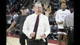 Mississippi State head coach Vic Schaefer reacts at the conclusion an NCAA college basketball game against South Carolina, Sunday, March 3, 2019, in Columbia, S.C. (AP Photo/Sean Rayford)