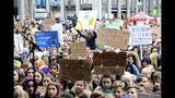 Several thousand schoolchildren take part in a climate protest in Bergen, Norway, Thursday, March 14, 2019. Students in more than 1,000 cities worldwide are planning to skip class Friday in protest over their governments' failure to act against global warming. The coordinated 'school strike' was inspired by 16-year-old activist Greta Thunberg, who began holding solitary demonstrations outside the Swedish parliament last year. (Marit Hommedal/ NTB scanpix via AP)