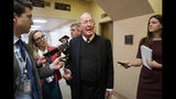 Sen. Lamar Alexander, R-Tenn., tells reporters that he will vote for a resolution to annul President Donald Trump's declaration of a national emergency at the southwest border, on Capitol Hill in Washington, Thursday, March 14, 2019. (AP Photo/J. Scott Applewhite)