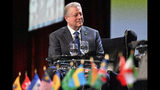 Former U.S. Vice President Al Gore, founder of the Climate Reality Project, speaks with youth climate activists durung a panel discussion on global climate, Friday, March 15, 2019, in Atlanta. (AP Photo/Mike Stewart)