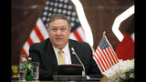 U.S. Secretary of State Mike Pompeo speaks during a news conference in Kuwait, Wednesday, March 20, 2019. (Jim Young/Pool Photo via AP)