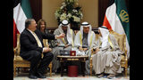 U.S. Secretary of State Mike Pompeo meets with Kuwait's Emir Sheikh Sabah Al-Ahmad Al- Jaber Al-Sabah in Kuwait City, Kuwait, Wednesday, March 20, 2019. (Jim Young/Pool Photo via AP)