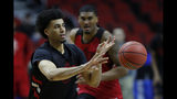 Louisville forward Jordan Nwora passes up court during practice at the NCAA men's college basketball tournament, Wednesday, March 20, 2019, in Des Moines, Iowa. Louisville plays Minnesota on Thursday. (AP Photo/Charlie Neibergall)