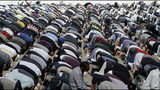 Muslims pray during Friday prayers at Hagley Park in Christchurch, New Zealand, Friday, March 22, 2019. People across New Zealand are observing the Muslim call to prayer as the nation reflects on the moment one week ago when 50 people were slaughtered at two mosques. (AP Photo/Mark Baker)