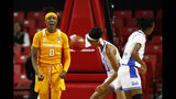 Tennessee guard Rennia Davis (0) reacts after scoring in the first half of afirst-round game against UCLA in the NCAA women's college basketball tournament, Saturday, March 23, 2019, in College Park, Md. (AP Photo/Patrick Semansky)