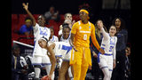 UCLA players celebrate after Tennessee guard Rennia Davis (0) was unable to keep the ball in bounds and turned over possession in the first half of a first-round game in the NCAA women's college basketball tournament, Saturday, March 23, 2019, in College Park, Md. (AP Photo/Patrick Semansky)