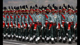 Pakistani paramilitary troops march during a military parade to mark Pakistan National Day, in Islamabad, Pakistan, Saturday, March 23, 2019. Pakistanis are celebrating their National Day with a military parade that's showcasing short- and long-range missiles, tanks, jets, drones and other hardware. (AP Photo/Anjum Naveed)