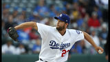 Los Angeles Dodgers' Clayton Kershaw pitches for the Oklahoma City Dodgers on a rehab assignment, in the first inning of the team's Triple-A baseball game against the San Antonio Missions on Thursday, April 4, 2019, in Oklahoma City. (AP Photo/Sue Ogrocki)