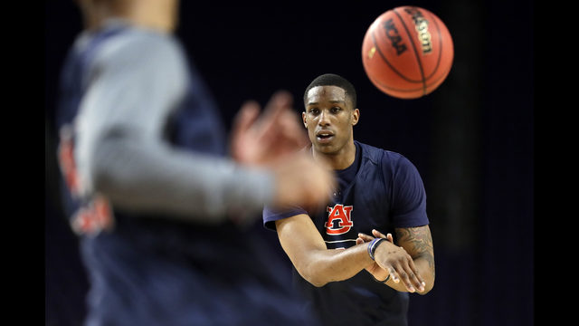 002925835150 Auburn s Horace Spencer warms up during a practice session for the  semifinals of the Final Four NCAA college basketball tournament