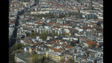 Apartment buildings in the district Mitte photographed from the television tower in Berlin, Germany, Thursday, April 4, 2019. A campaign is being launched in the German capital to force the Berlin's state government into taking over nearly 250.000 apartments from corporate owners like Deutsche Wohnen and others. (AP Photo/Markus Schreiber)
