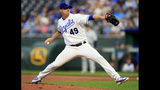 Kansas City Royals starting pitcher Heath Fillmyer delivers to a Seattle Mariners batter during the first inning of a baseball game at Kauffman Stadium in Kansas City, Mo., Wednesday, April 10, 2019. (AP Photo/Orlin Wagner)