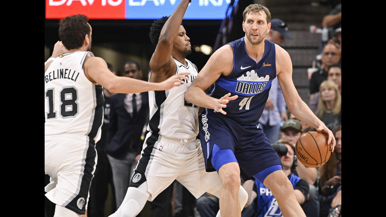 b52189bdd Spurs beat Mavs 105-94 in Nowitzki s final game