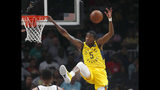 Indiana Pacers guard Edmond Sumner (5) misses a dunk in the first half of an NBA basketball game against the Atlanta Hawks Wednesday, April 10, 2019, in Atlanta. (AP Photo/John Bazemore)