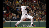 Boston Red Sox's Dustin Pedroia follows through on his RBI single against the Toronto Blue Jays during the third inning of a baseball game Thursday, April 11, 2019, at Fenway Park in Boston. (AP Photo/Winslow Townson)