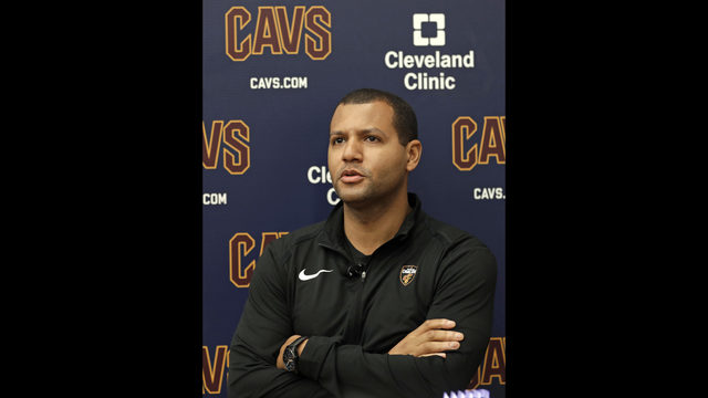 3deb649984d1 Cleveland Cavaliers general manager Koby Altman speaks to the media at the  team s training facility