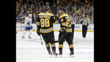 Boston Bruins left wing Brad Marchand (63) is congratulated by teammate right wing David Pastrnak (88) after scoring a goal against the Toronto Maple Leafs during the first period of Game 2 of an NHL hockey first-round playoff series, Saturday, April 13, 2019, in Boston. (AP Photo/Mary Schwalm)