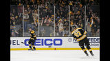 Boston Bruins center Charlie Coyle (13) yells as he celebrates with fans after scoring against the Toronto Maple Leafs during the first period of Game 2 of an NHL hockey first-round playoff series, Saturday, April 13, 2019, in Boston. (AP Photo/Mary Schwalm)