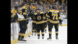 Boston Bruins left wing Brad Marchand (63) is congratulated by teammates, including defenseman Charlie McAvoy (73), at the bench after scoring a goal against the Toronto Maple Leafs during the first period of Game 2 of an NHL hockey first-round playoff series, Saturday, April 13, 2019, in Boston. (AP Photo/Mary Schwalm)
