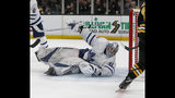 Toronto Maple Leafs goaltender Frederik Andersen (31) makes a stick-save from his back during the second period of Game 2 of an NHL hockey first-round playoff series against the Boston Bruins, Saturday, April 13, 2019, in Boston. (AP Photo/Mary Schwalm)