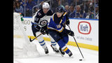St. Louis Blues' Robert Thomas (18) handles the puck as Winnipeg Jets' Tyler Myers (57) defends during the second period in Game 3 of an NHL first-round hockey playoff series Sunday, April 14, 2019, in St. Louis. (AP Photo/Jeff Roberson)