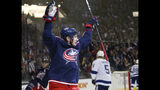 Columbus Blue Jackets' Matt Duchene celebrates his goal against the Tampa Bay Lightning during the second period of Game 3 of an NHL hockey first-round playoff series Sunday, April 14, 2019, in Columbus, Ohio. (AP Photo/Jay LaPrete)