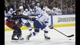 Tampa Bay Lightning's Brayden Point, right, looks for an open pass as Columbus Blue Jackets' Dean Kukan, of Switzerland, defends during the first period of Game 3 of an NHL hockey first-round playoff series Sunday, April 14, 2019, in Columbus, Ohio. (AP Photo/Jay LaPrete)