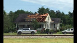 A roof is torn off a home following a suspected tornado, Saturday, April 13, 2019 in Franklin, Texas. (Laura McKenzie/College Station Eagle via AP)