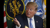 """In this April 5, 2019 photo, President Donald Trump participates in a roundtable on immigration and border security at the U.S. Border Patrol Calexico Station in Calexico, Calif. Trump said Friday he is considering sending """"Illegal Immigrants"""" to Democratic strongholds to punish them for inaction- just hours after White House and Homeland Security officials insisted the idea was dead on arrival. (AP Photo/Jacquelyn Martin)"""